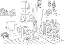 Witch Living Room Graphic Black White Home Interior Sketch Illustration Vector