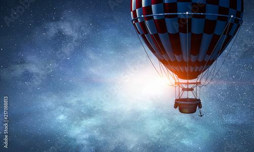 Slika na platnu Air balloon in sky. Mixed media