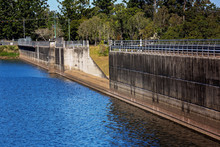 Concrete Dam Wall On A Large Lake In Australia