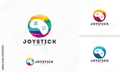 abstract circle joystick logo designs concept vector game