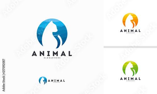 Abstract Circle Cat Silhouette Logo Design Symbol Animal Cat Logo