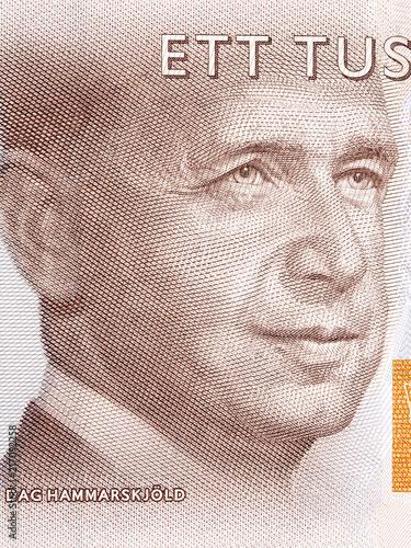Cuadros en Lienzo Dag Hammarskjold portrait from Swedish money