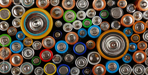 Close up background of various alkaline batteries Canvas Print