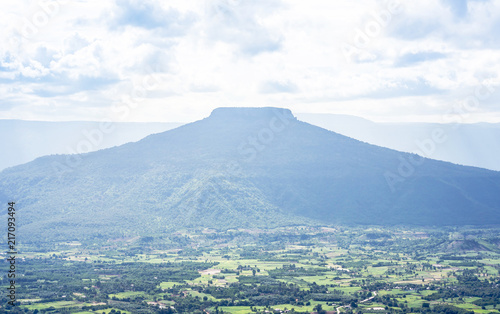 High angle landscape view of Phu hor with looks like similar Mt.Fuji mountain is famous travel destination of Loei from Phu Pa Por view point at Loei province ,Thailand .