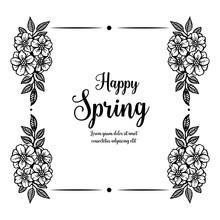 Happy Spring Frame Floral Hand Drawn Vector Illustration