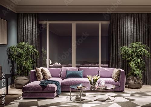 Fotografie, Obraz  Modern interior design of living room, Taiwan, Taipei city skyline