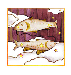 Panel Szklany Znaki Zodiaku Astrological sign of the zodiac Pisces, isolated on a white background. Two fish swimming one after another. Isolated on a dark pattern background