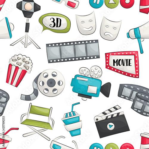 Movie cinema design. Seamless pattern. Vector illustrator.