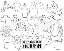 Autumn Season Icons Set. Black And White  Hand Drawn Outline Doodle Objects. Coloring Page Kids Game. Vector Illustration.