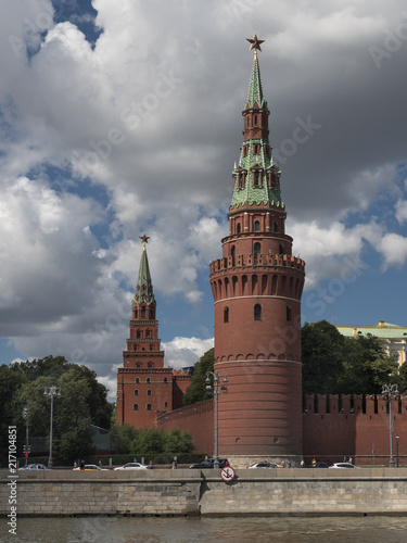 Russia, Moscow, view on Kremlin towers on against sky.