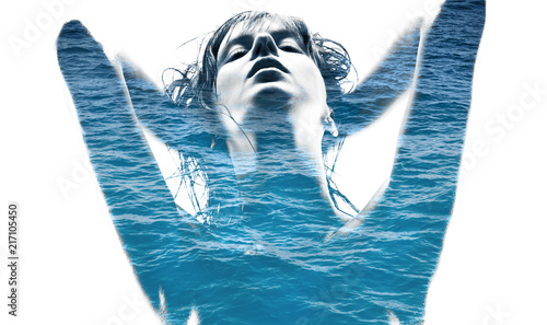 Foto op Plexiglas Spa beauty and sensuality concept - double exposure of beautiful seductive woman and blue sea water over white background