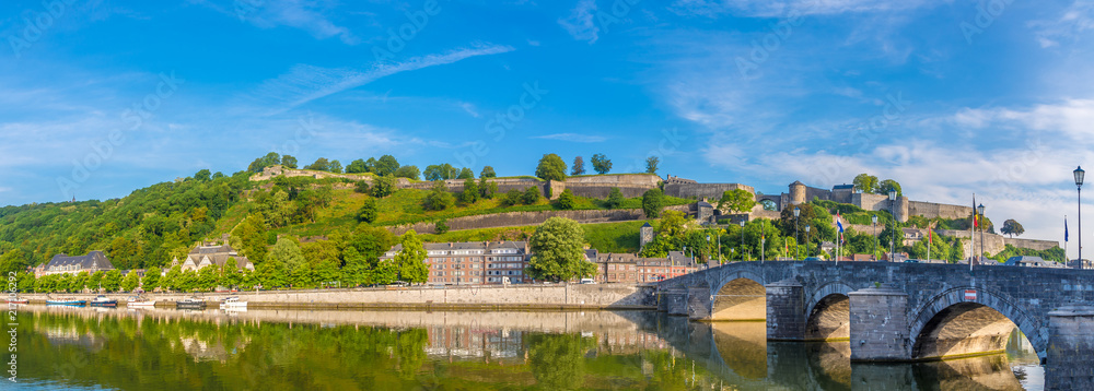 Fototapety, obrazy: Panoramic view at the Citadel with Old bridge over Meuse river in Namur - Belgium