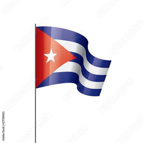 Cuba flag, vector illustration on a white background Wallpaper Mural