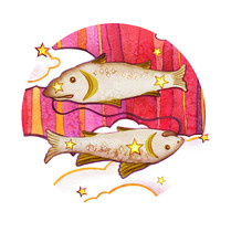 Astrological Sign Of The Zodiac Pisces, Isolated On A White Background. Two Fish Swimming One After Another. Isolated On A Round  Pattern Background