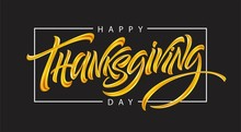 Thanksgiving Typography For Greeting Cards And Poster. Golden Calligraphy Lettering. Vector Illustration