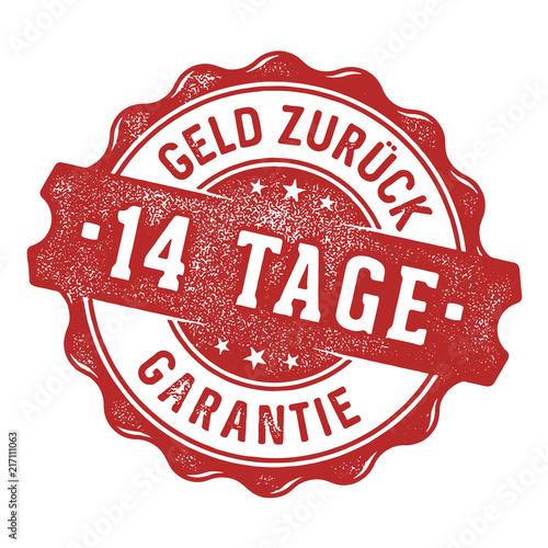 Obraz na plátně 14 Tage Geld zurück Garantie Siegel/Stempel