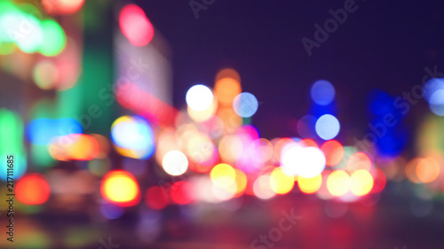 Photo sur Aluminium Las Vegas Blurred city lights at night, color toning applied, Las Vegas, USA.