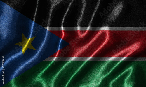 Wallpaper by South Sudan flag and waving flag by fabric.