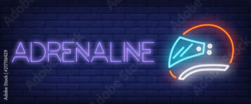 Adrenaline neon text with helmet Canvas Print