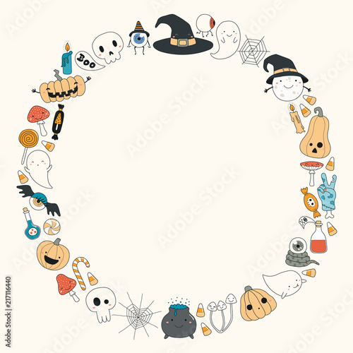 Hand drawn vector illustration of a kawaii funny Halloween wreath, with pumpkins, ghosts, candy, witch hat, moon, copy space. Isolated objects. Line drawing. Design concept for print, card, invitation