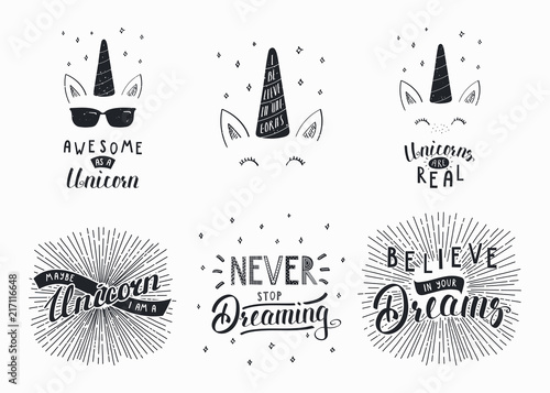 Printed kitchen splashbacks Illustrations Set of hand written funny inspirational lettering quotes about unicorns, dreams. Isolated objects. Hand drawn black and white vector illustration. Design concept for t-shirt print, motivational poster
