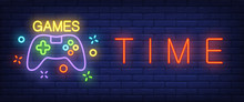 Games Time Neon Text With Game...