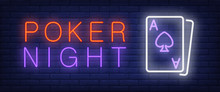 Poker Night Neon Text With Pla...