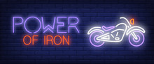 Power Of Iron Neon Text With M...