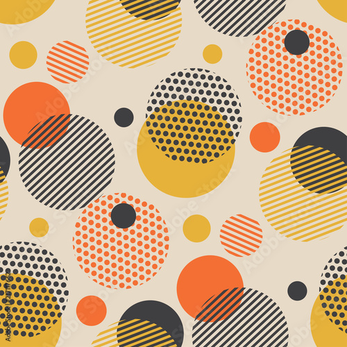 Vintage style scattered circle geometry seamless pattern. Poster
