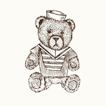 Teddy Bear In Sailor Costume, Hand Drawn Doodle Sketch, Isolated Vector Outline IllustrationŒ