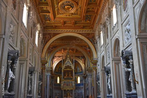 Italy, Rome, basilica of San Giovanni in Laterano, central nave. Canvas Print