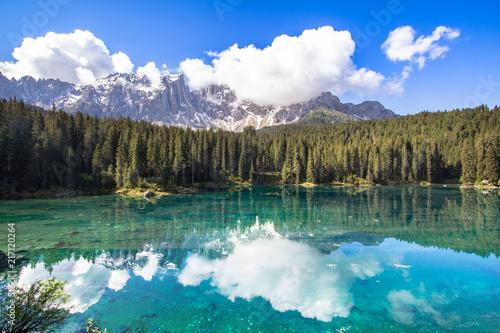 Foto op Plexiglas Meer / Vijver Karersee, lake in the Dolomites in South Tyrol, Italy