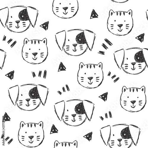 obraz PCV Childish pattern with hand drawn dogs and cats