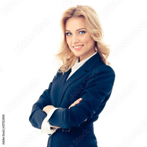 Obraz Full body portrait of happy smiling businesswoman - fototapety do salonu