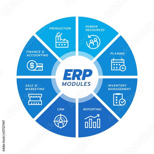 Enterprise resource planning (ERP) module icon Construction on blue circle flow chart  art vector design Wall mural