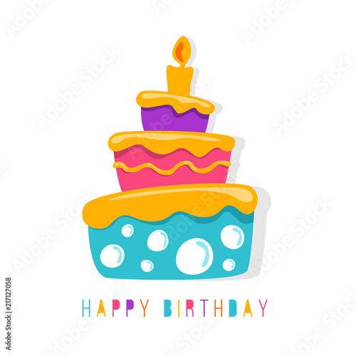 Happy Birthday Banner With Abstract Simple Cute Cake Symbol Vector Design