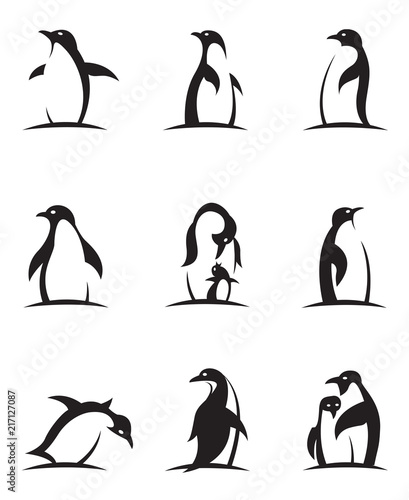 Fotografía collection of black penguin icons isolated on white background