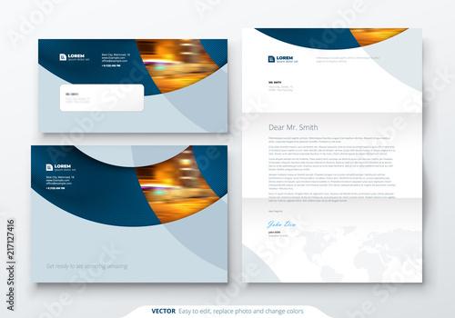 Fototapeta Envelope DL, C5, Letterhead. Corporate business stationery template for envelope and letter. obraz