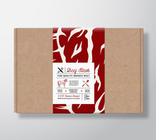 Premium Quality Beef Steak Craft Cardboard Box. Abstract Vector Meat Paper Container With Label Cover. Packaging Design. Modern Typography And Hand Drawn Cow Silhouette Background Layout.