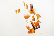Broken Bottle Flies In The Air...