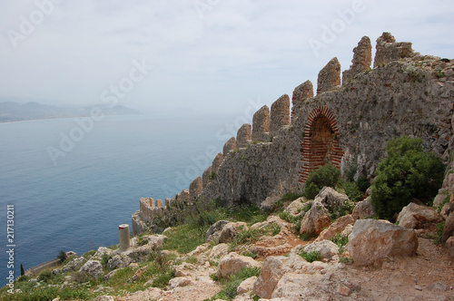 Tablou Canvas fortress wall leaves at sea, Alania Turkey