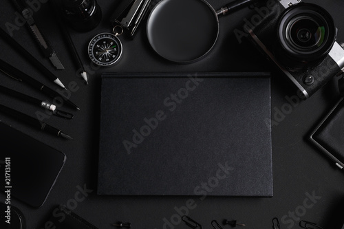 Fototapeta Set of black identity elements on black paper background. Black branding mockup obraz