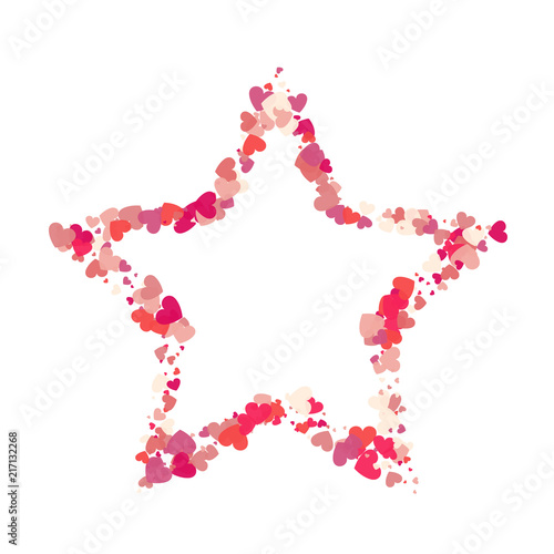 Heart shape vector pink confetti with white star frame inside - Buy ...