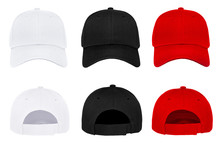 Blank Baseball Cap 3 Color Front And Back View On White Background