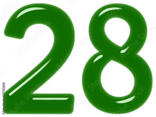 Poster  Numeral 28, twenty eight, isolated on white background, 3d render