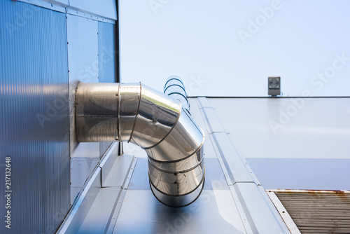The ventilation pipe goes up the building Canvas Print