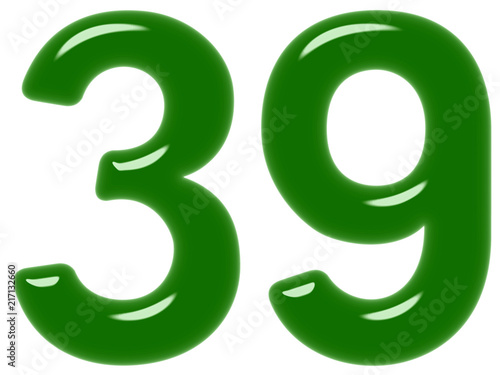 Poster  Numeral 39, thirty nine, isolated on white background, 3d render