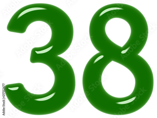 Poster  Numeral 38, thirty eight, isolated on white background, 3d render