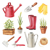 Watercolor illustrations of garden tools