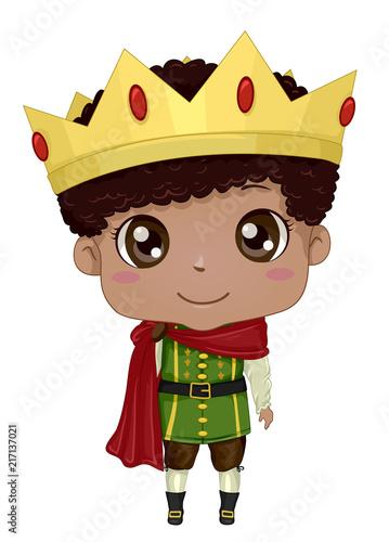 Obraz na plátně Kid Boy Black Prince Illustration
